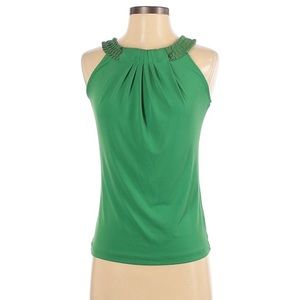 The Limited Green Sleeveless Top Ribbon Neckline M